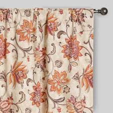 Brown Floral Curtains Coral U0026 Pink Floral Eva Concealed Tab Top Curtains Set Of 2
