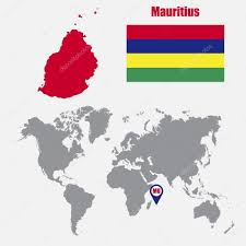 Mauritius Flag Mauritius Map On A World Map With Flag And Map Pointer Vector