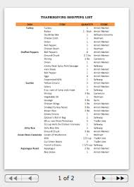 thanksgiving planning worksheet