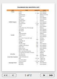 thanksgiving planning worksheet