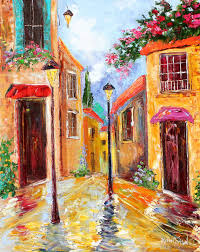 original oil painting italy village landscape palette knife