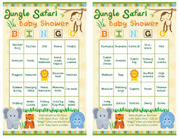 baby shower bingo baby shower bingo 50 guests jungle safari