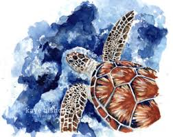 Sea Turtle Bathroom Accessories Turtle Watercolor Etsy