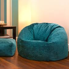 Big Bean Bag Chair by Furniture Blue Uphokstered Bean Bag With Bench And Wooden Table