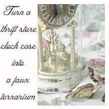 make a faux terrarium out of a thrift store clock case