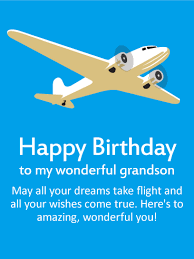 may your wishes come true happy birthday wishes card for grandson