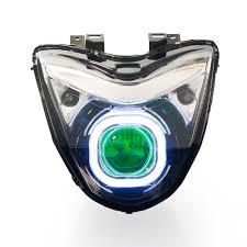 suzuki motorcycle green kt headlight for suzuki gw 250 2013 led angel eye green demon eye