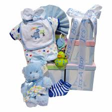 gift baskets canada abc baby tower gift basket with it s a boy ribbon