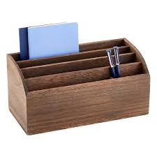 Wood Desk Accessories And Organizers feathergrain wooden desktop organizer the container store