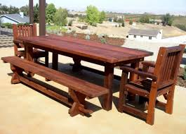 Outdoor Wood Patio Furniture Custom Redwood Dining Table Ltdonlinestores