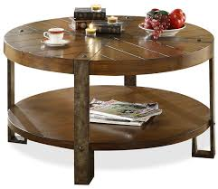beautiful round coffee table with shelf with reclaimed wood round