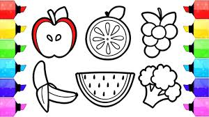 fruits and vegetables coloring pages how to draw and color