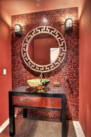 Red Mosaic Tile Backsplash by Mosaic Accent Wall Bathroom Contemporary With Mosaic Tile