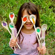 twig and toadstool wooden spoon garden stakes