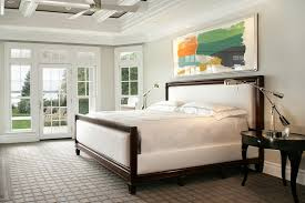 Master Bedroom Headboard Wall Decorating Traditional Bedroom With Beige Carpet And Beige