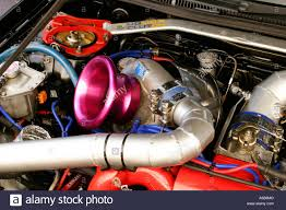 subaru boxer engine turbo massive high mount turbocharger on a modified and tuned japanese