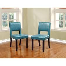 Linon Home Decor Products Linon Home Decor Vega Aegean Blue Pu Dining Chair Set Of 2