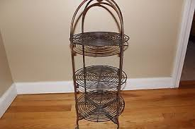 vintage 3 tier black wrought iron plate holder server stand buffet