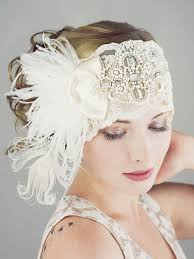 gatsby headband gatsby ivory lace flapper feather headband bridal deanna