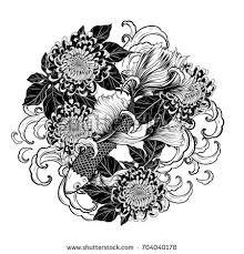 koi fish chrysanthemum tattoo by hand stock vector 696865471