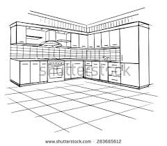 Kitchen Design Sketch Interior Sketch Modern Kitchen Island Stock Vector 247724731