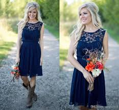 navy blue lace bridesmaid dress country 2017 navy blue chiffon lace bridesmaid dresses for