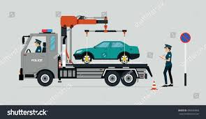 police truck police truck handling parked car parked stock vector 684564868