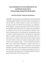 cost and benefits of integration in the european union and in the