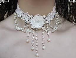white lace necklace images Vintage gothic jewelry white rose lace necklace beads tassels jpg
