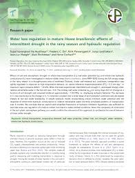 PDF Water loss regulation in mature Hevea brasiliensis Effects of