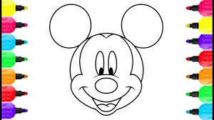 mickey mouse smiley face coloring pages how to draw mickey mouse