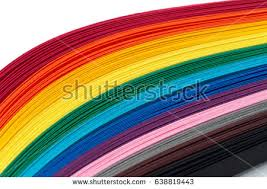 colors close to yellow colored strips paper quilling rainbow colors stock photo royalty