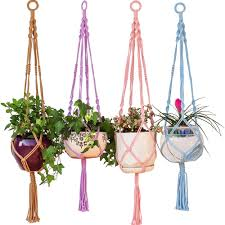 colorful macrame plant hanger hanging planter holder basket for