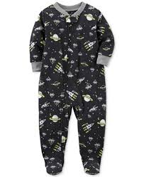 s 1 pc space print glow in the footed fleece pajamas