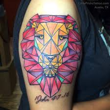 little tattoo studio color geometric lion tattoo by tita