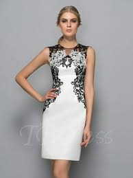 sheath neck appliques knee length formal dress tbdress