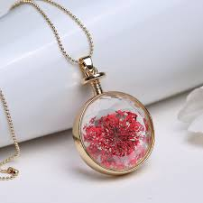 glass locket pendant necklace images Pendant necklace women red dried flowers transparent glass locket jpg