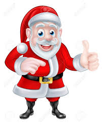 a christmas cartoon illustration of santa claus pointing and