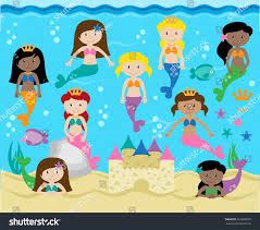 vector collection cute mermaids background stock vector 367882826