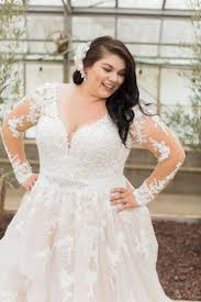 curvy wedding dresses classic curvy sheer sleeves and just a hint of