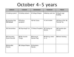 october lesson plan learn nursery school