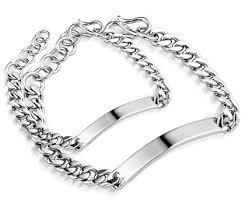 silver tag bracelet images Cute engravable tag curb link couple bracelets set for him and jpg