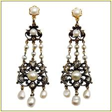 and pearl chandelier diamond and pearl chandelier earrings home design ideas