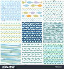 wavy sea ornaments set seamless doodle stock vector 646645582