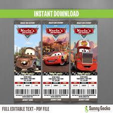 disney cars birthday ticket invitations