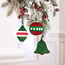 glittered foam ornaments