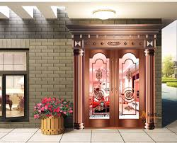 modern house front door design double tempered glass pure copper