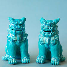 blue foo dogs foo dogs from grace home blue glass gems and ceramic