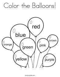 Color The Balloons Coloring Page From Twistynoodle Com Preschool Coloring Pages Preschool