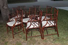 Chinese Chippendale Set Of Eight Faux Bamboo Dining Arm Chairs - Chippendale dining room furniture